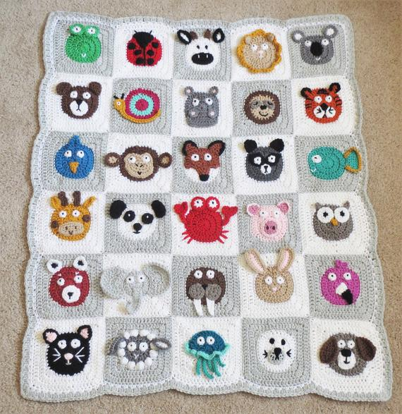 Animal Granny Squares {Perfect for Crochet Baby Blankets!}