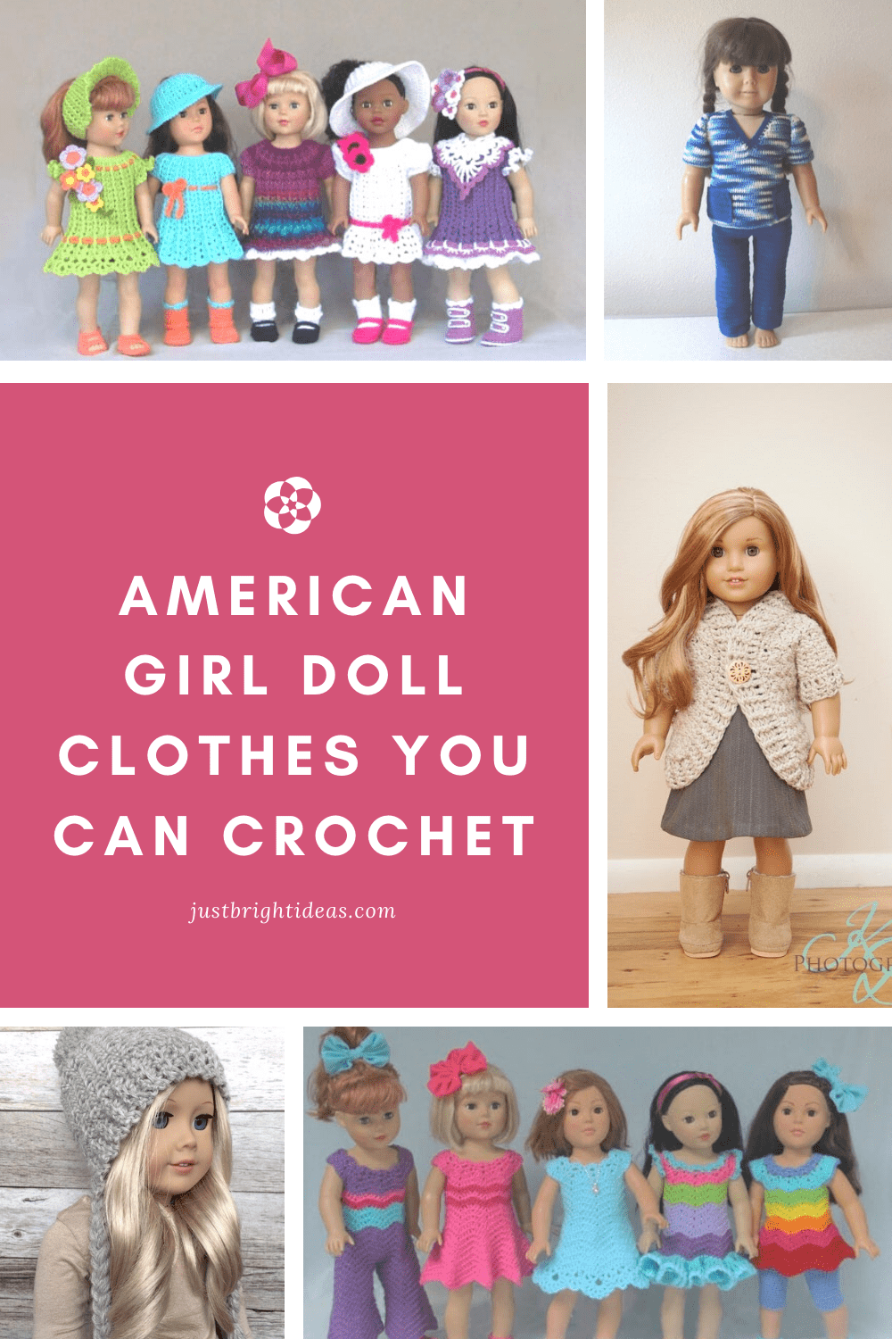 The cute crochet patterns can be used to make outfits for your American Girl or other 18 inch doll. Everything from bathing suits to wedding dresses!