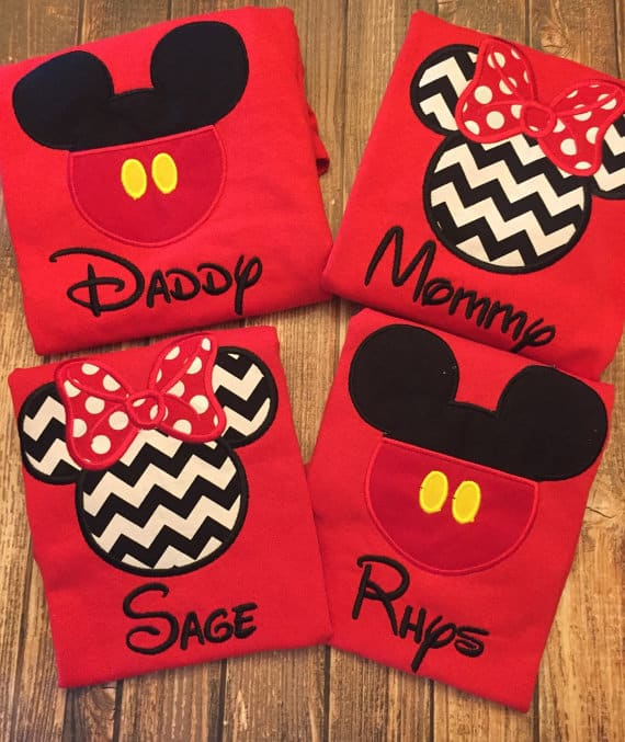 You can buy theCustom Matching Applique Disney Shirts here