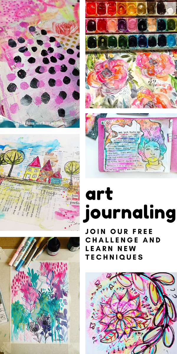 Join our free art journaling challenge and learn new skills and techniques - there's video tutorials and a free printable to download and print out!