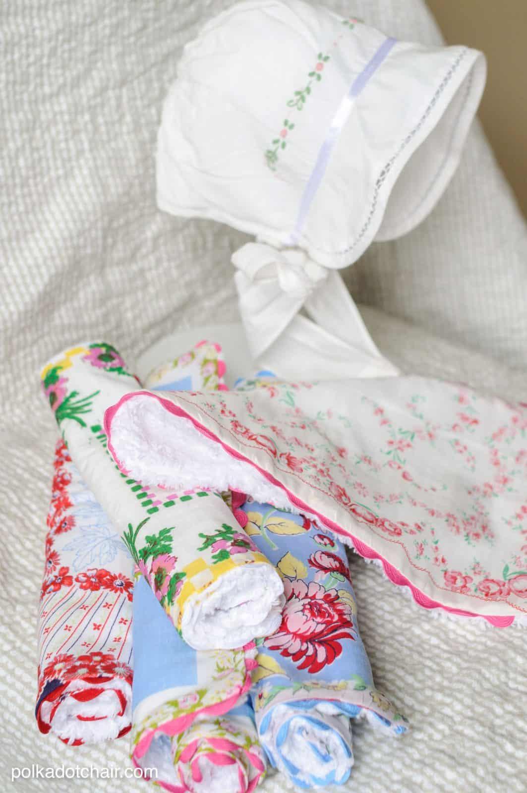 Vintage Handkerchief Upcycle - Baby Burp Cloths