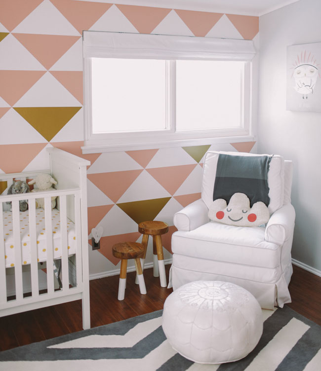 The striking accent wall is made using decals