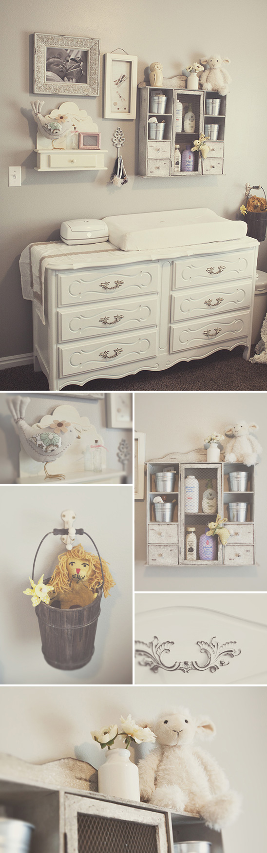 The vintage dresser is simply gorgeous