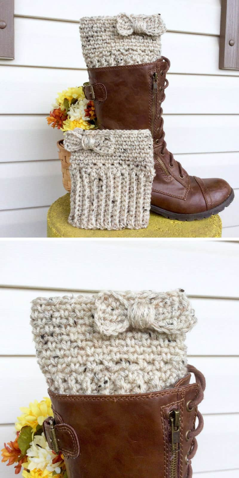 Cream Bow Boot Cuff Crochet Pattern