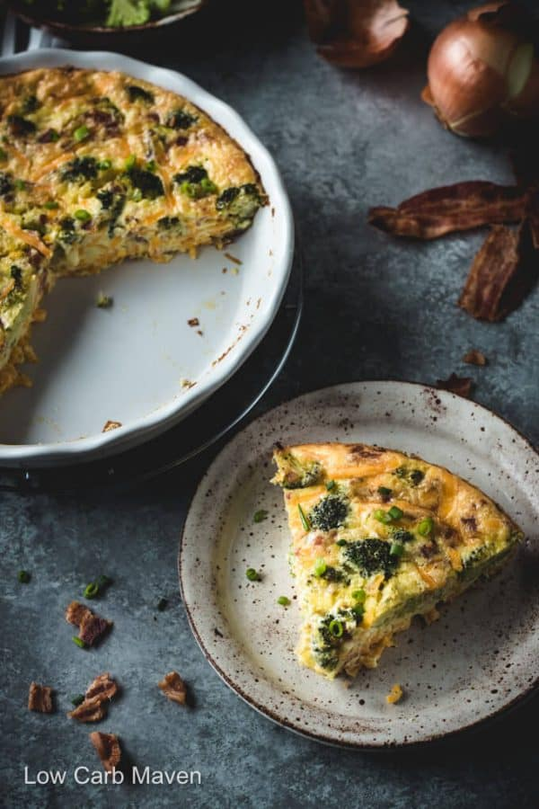 Crustless Broccoli Cheddar Quiche with Bacon