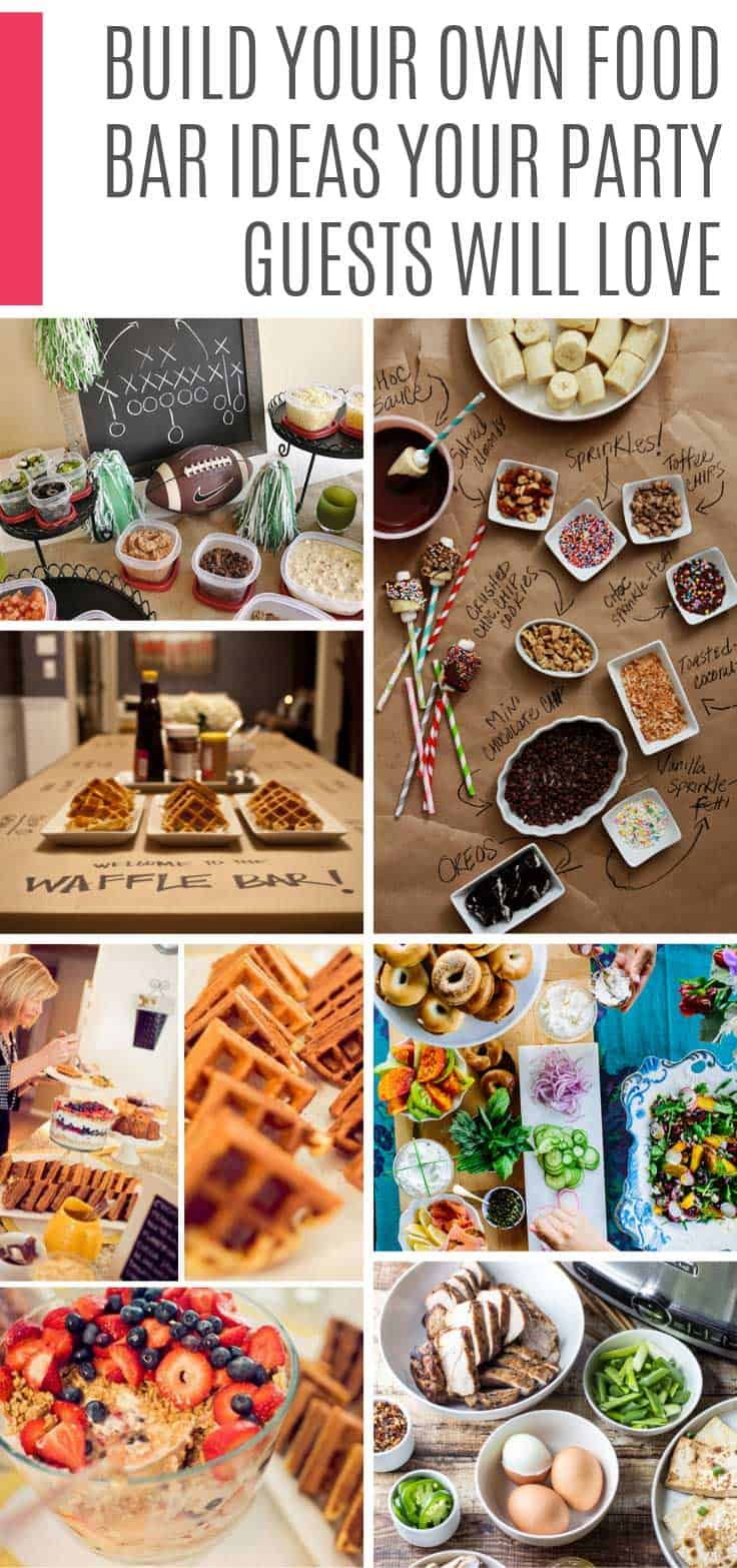 These build your own food bar ideas are AMAZING! Your guests are going to love these stations. From waffle bars to ice cream. Just what you need for your graduation party, baby shower or wedding reception!