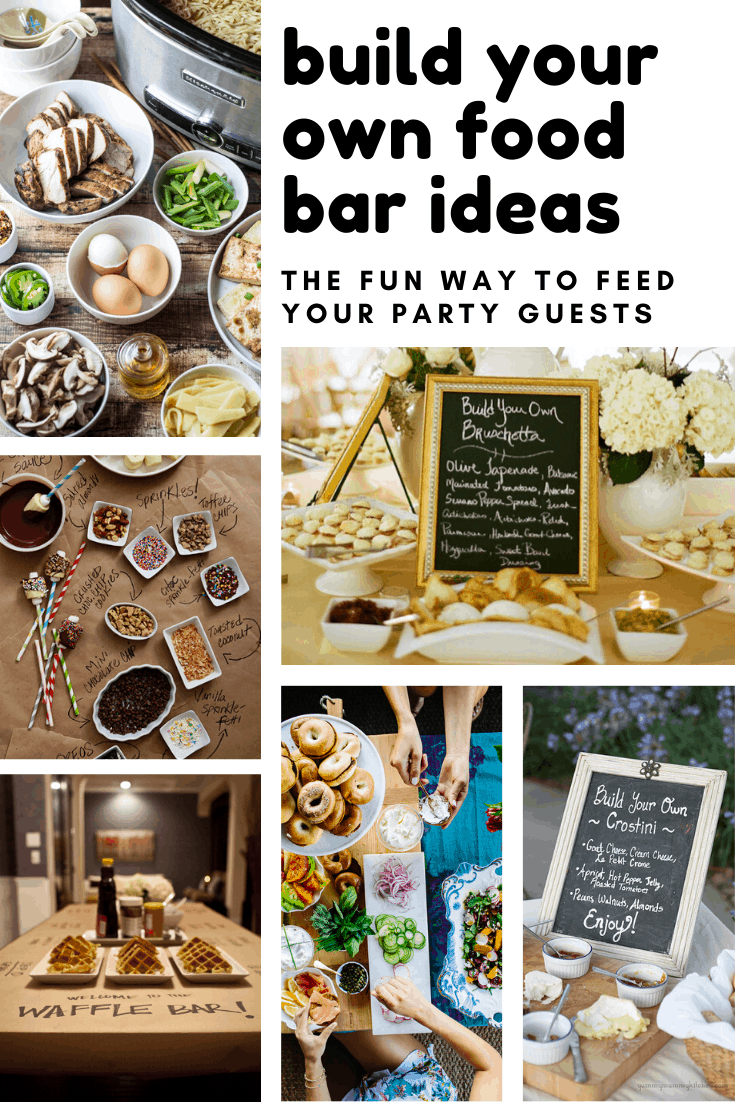 These build your own food bar ideas are perfect for feeding party guests for New Year's, baby showers, and of course weddings!