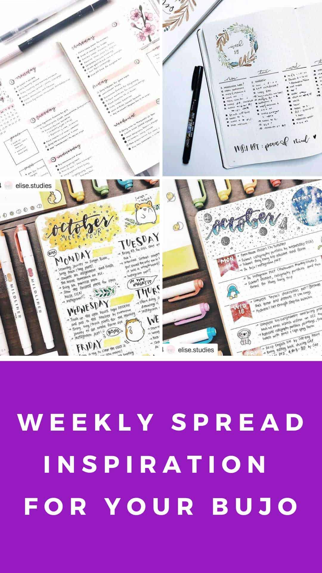 So many great bullet journal weekly spread ideas to inspire you! #bulletjournal
