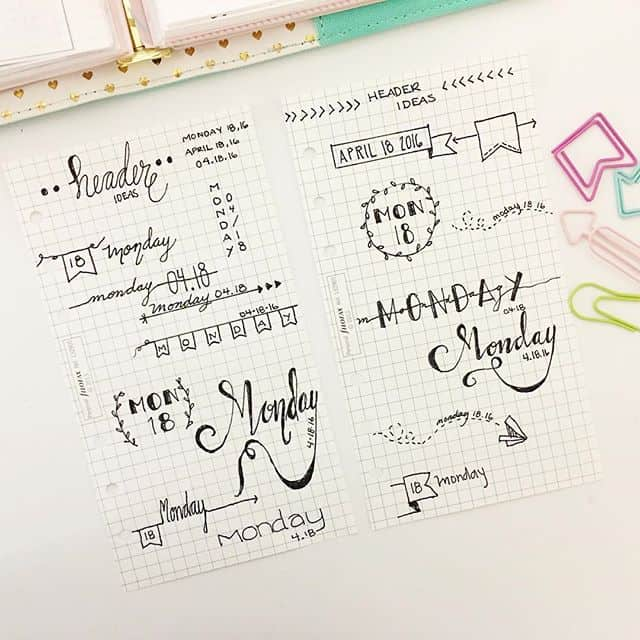 Cute bullet journal headers