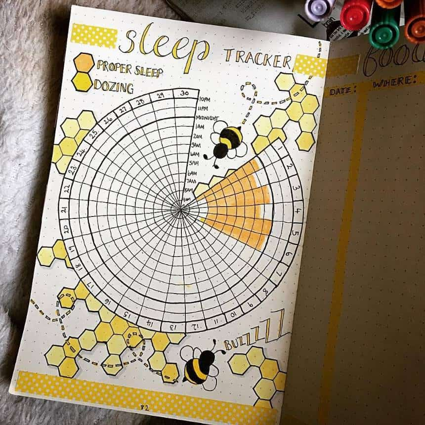 Circular sleep tracker spread for Bullet Journal