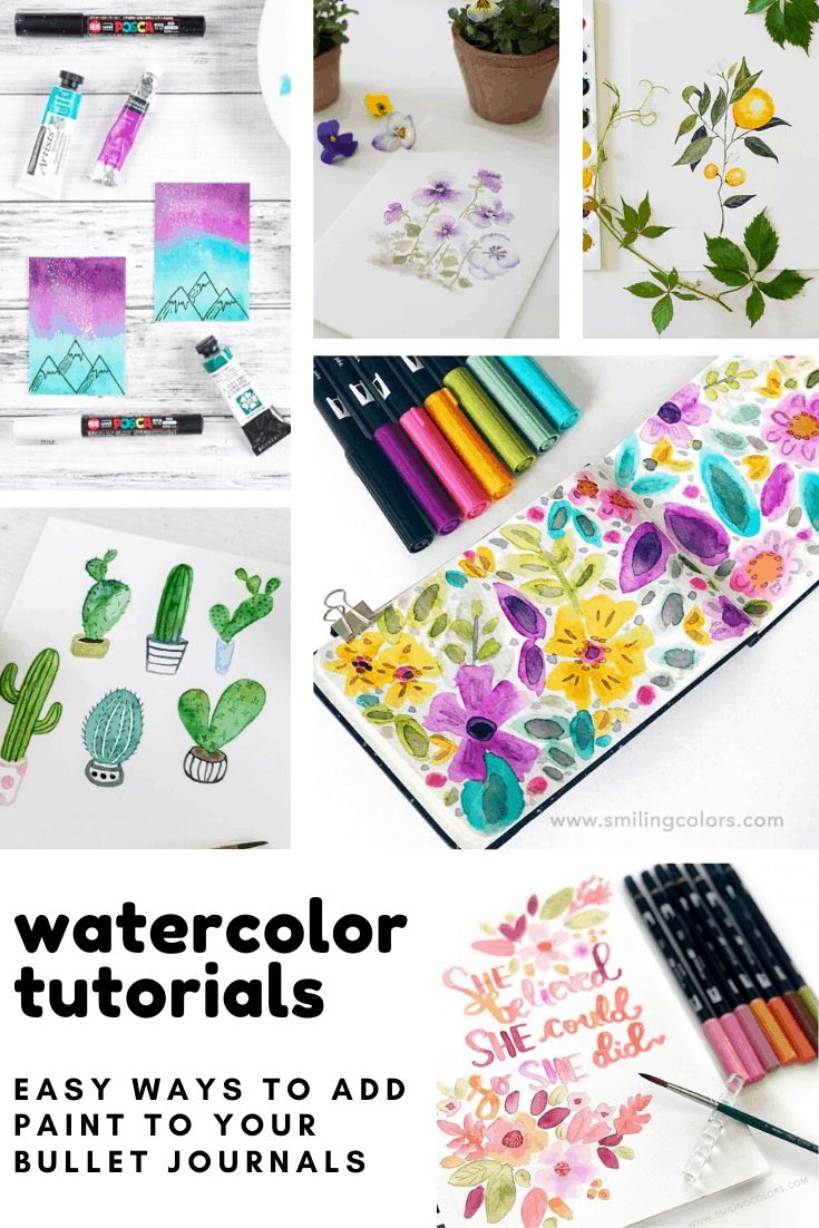 Wow so many easy to follow watercolor painting tutorials to bring something new to my bullet journal!