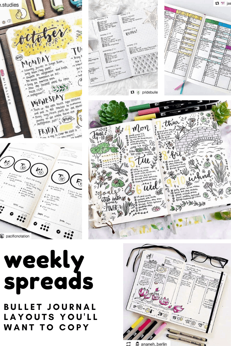 Loving these bullet journal weeklies ideas! So many fun ways to organize your week in your BUJO. #bulletjournal