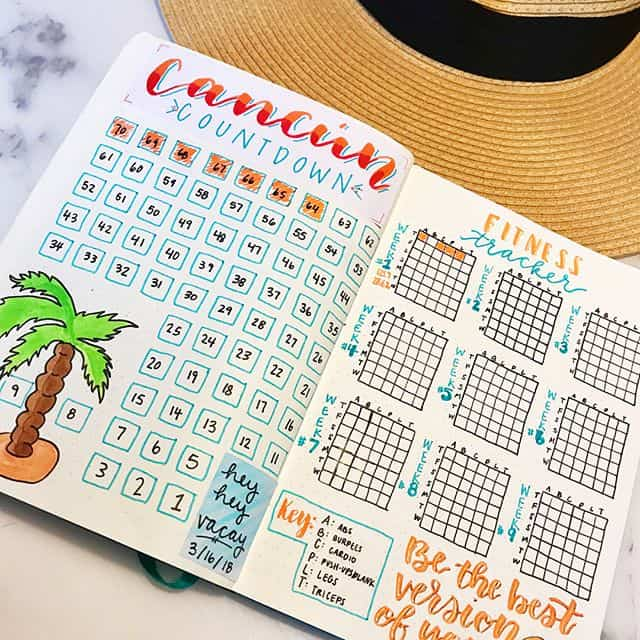 Keep track of your exercise in your bullet journal