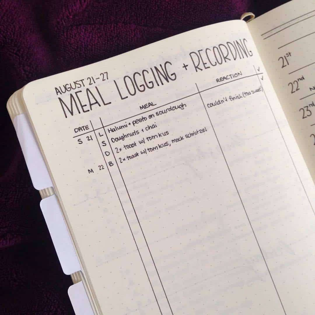 Keep a food journal in your bullet journal