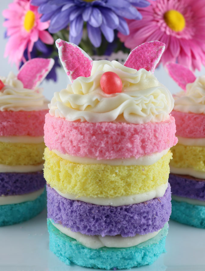 Easter Treats | Desserts | Mini Cakes | Bunny | Bunnies | Spring | Rainbow Cakes