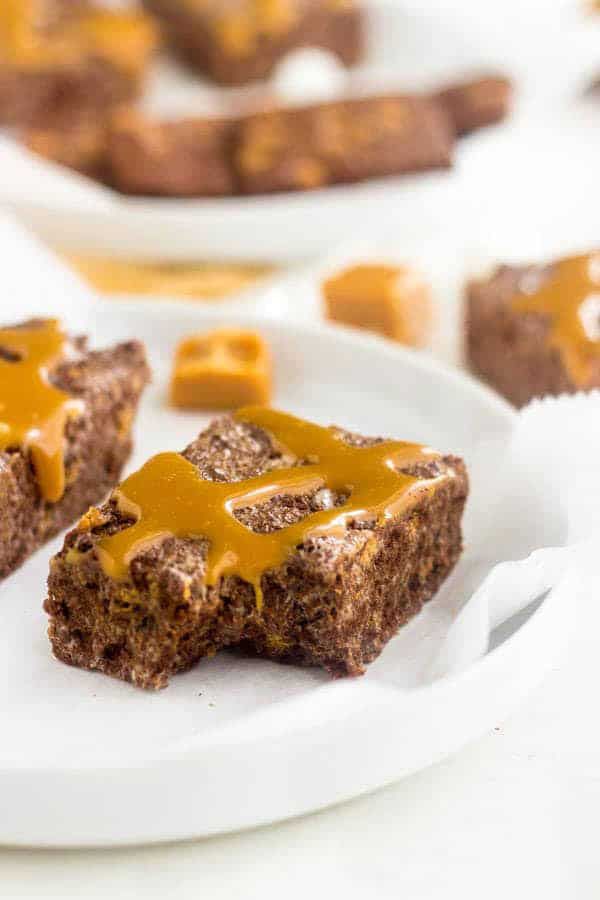 Marshmallow Treats with Brownie Brittle and Caramel
