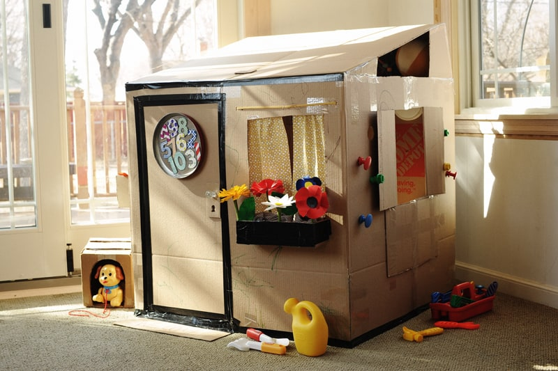 Cardboard Playhouse with Window Box