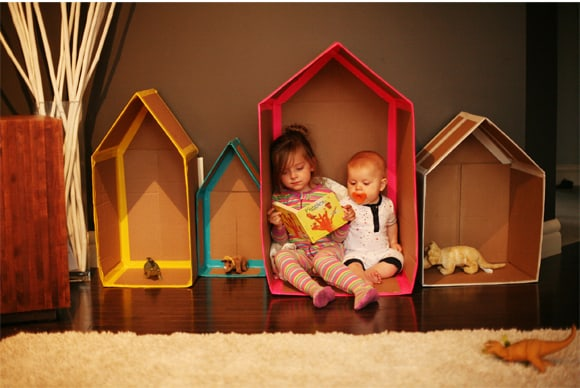 Cardboard Playhouses for Siblings