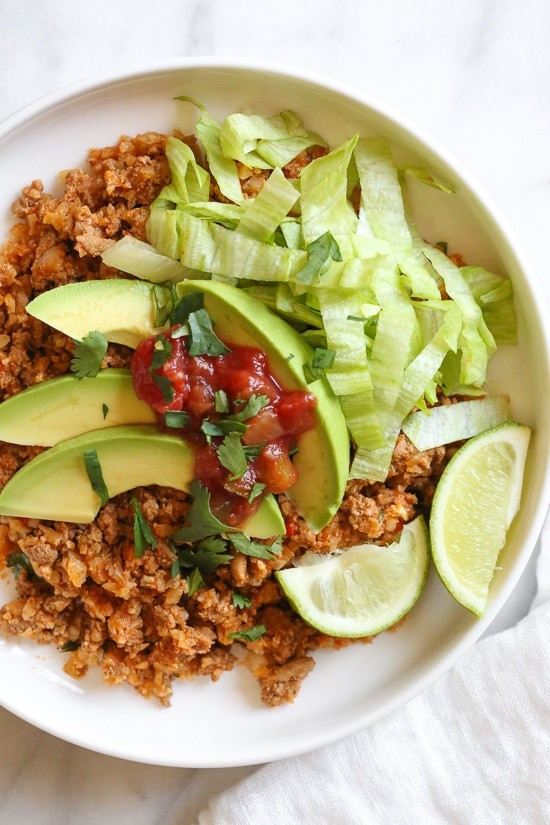 Skillet Taco Cauliflower Rice