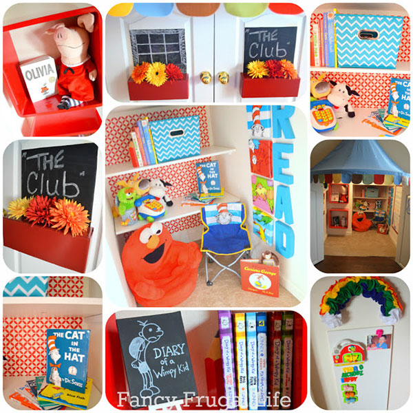 The best book nook in the world - http://fancyfrugallife.com/under-the-stairs-closet-turned-kids-book-nook/
