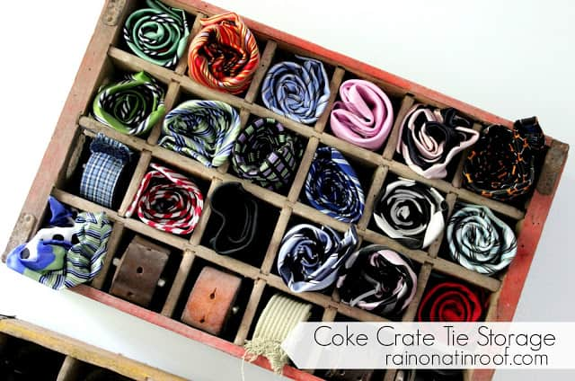 Coke Crate Tie Holder