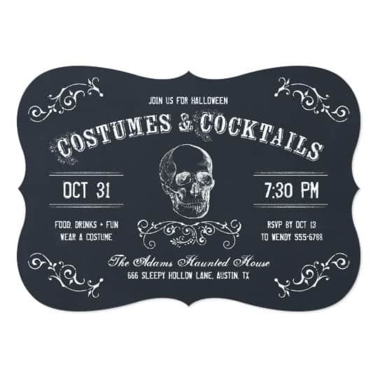 You can buy the Chalkboard Skull Halloween Cocktail Party Card here