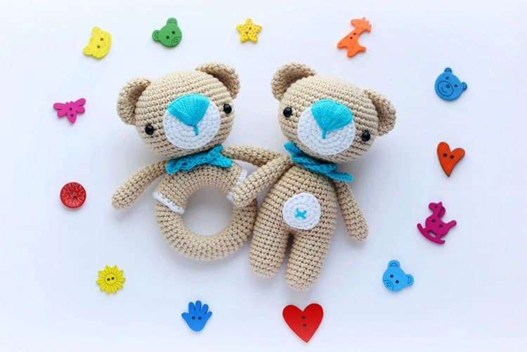 Amigurumi Teddy Bear and Teddy Rattle