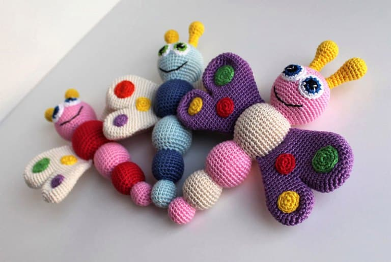 Butterfly baby rattle crochet pattern