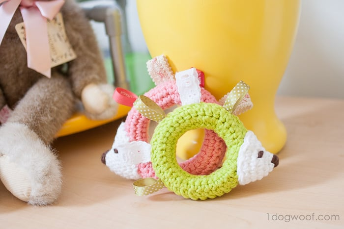Hedgehog Taggie Baby Toy Crochet Pattern<