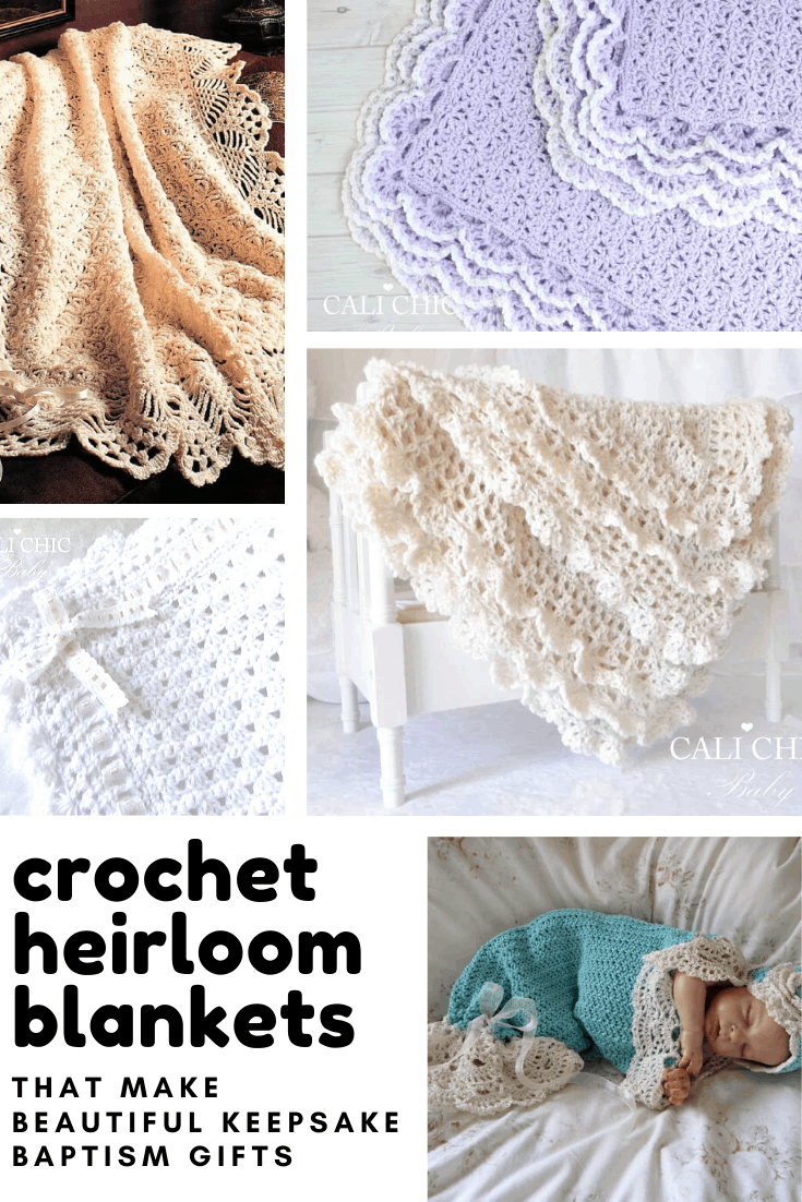 If you want to make a handmade keepsake gift for a baby's baptism or baby shower you can't go wrong with these beautiful crochet heirloom blanket patterns