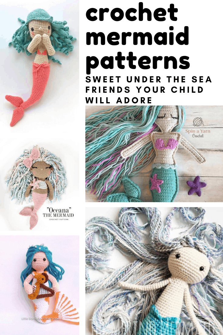 Loving these easy to follow mermaid crochet patterns and your children are sure to love their new playmate!