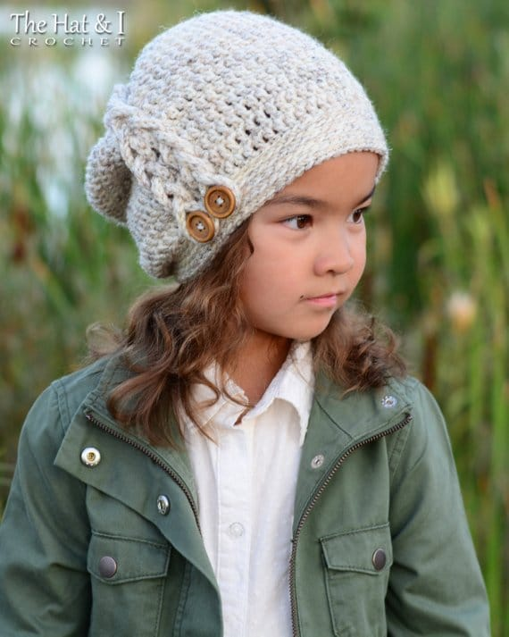 crochet slouch beanie hat for child - the hat and I on etsy