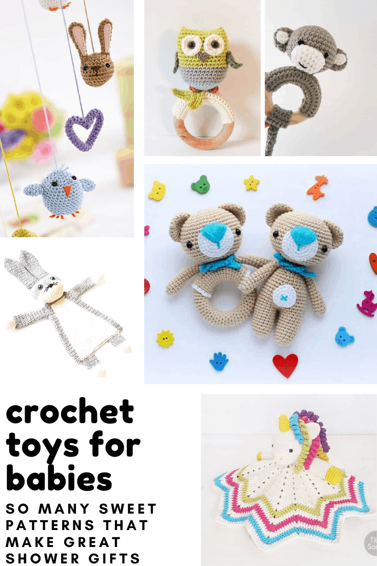 These easy to follow crochet baby toy patterns make fabulously thoughtful baby shower gifts!