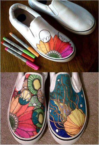 Customized Sneakers with Sharpie Markers