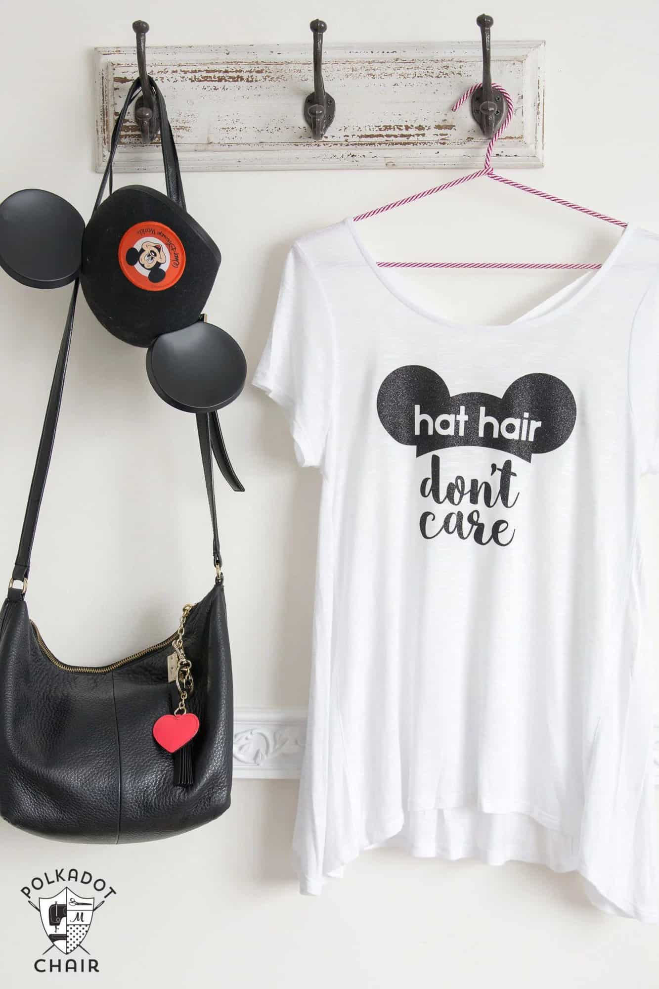 DIY Disney T-Shirt: Hat Hair, Don't Care