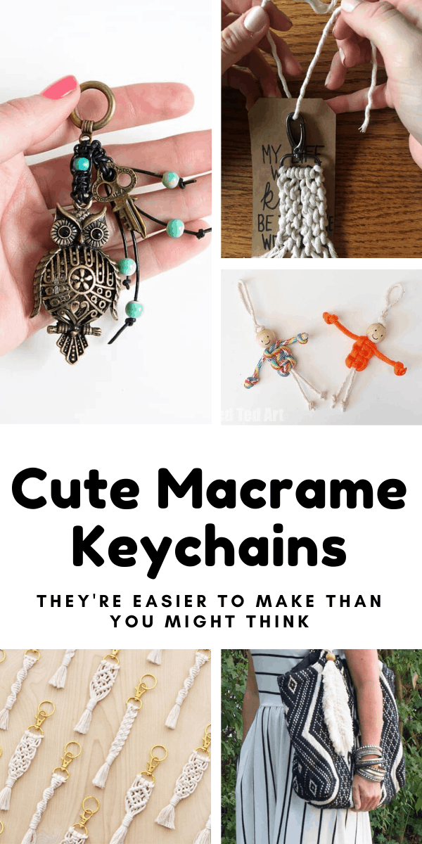 Stop by and see our collection of cute macrame keychains you can make for yourself or as a handmade gift for a friend! #keychain #macrame #diy #crafts