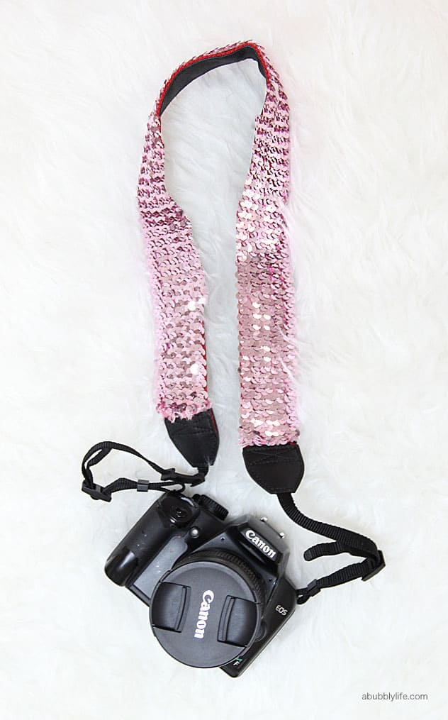 DIY Sequined Camera Strap For Less Than $5!