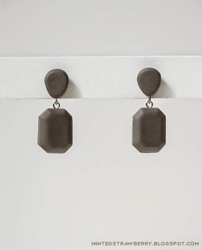 DIY Faux Cement Dangling Earrrings