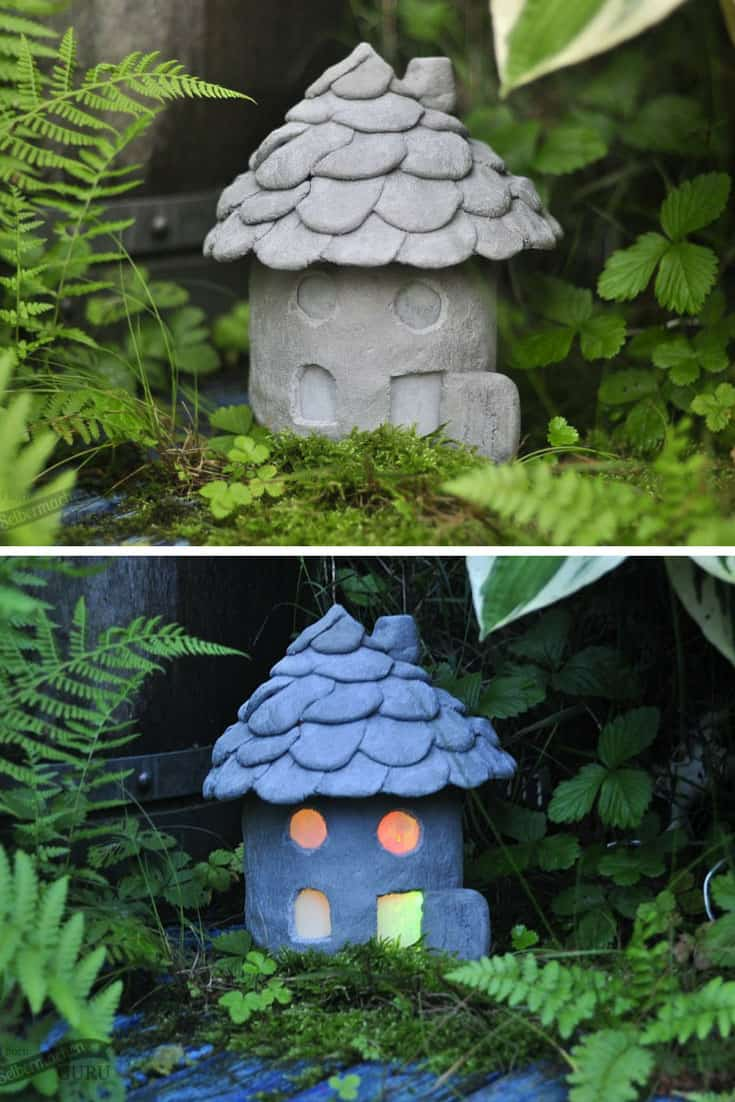 Cement Fairy House Lantern