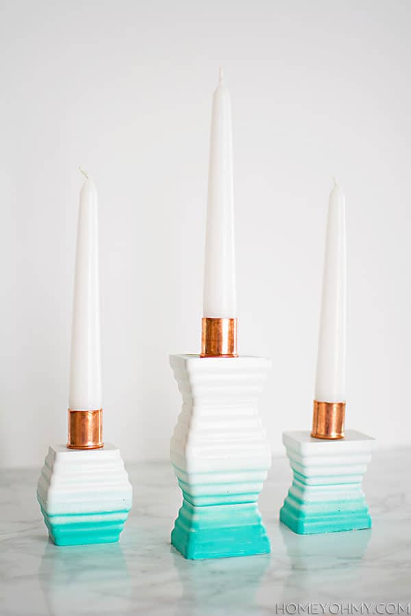 DIY Ombre Cement Candle Holders