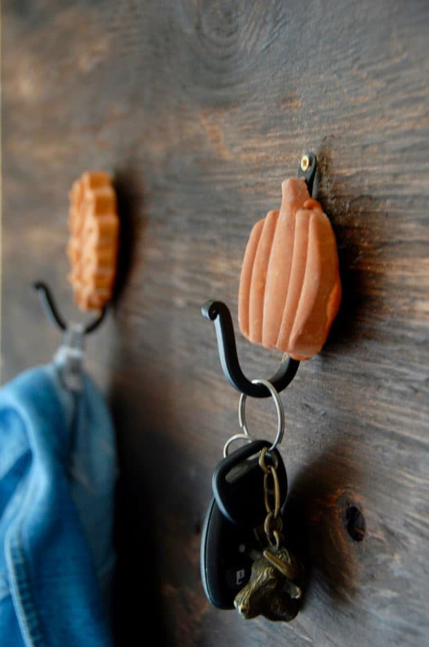 Cement Leaf and Pumpkin Wall Hooks