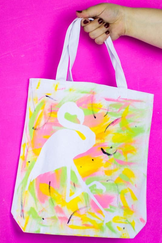 DIY Flamingo Stencil Tote Bag