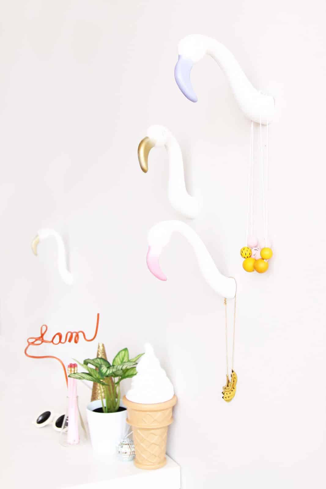 DIY Flamingo Wall Hooks
