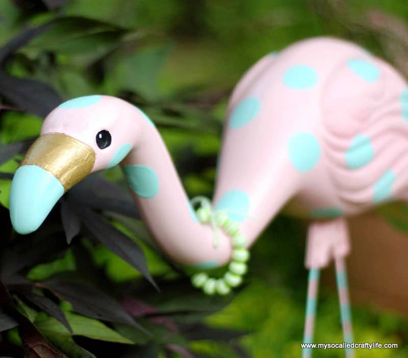 Easy Upcycled Retro Yard Flamingo Revamp