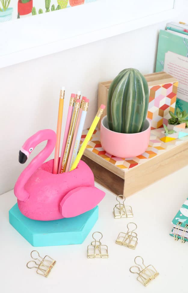 A Pink Flamingo Pool Float Pencil Cup
