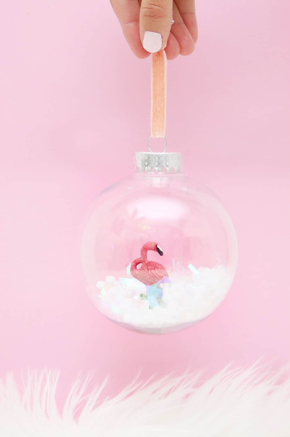 DIY Flamingo Snow Globe Ornament