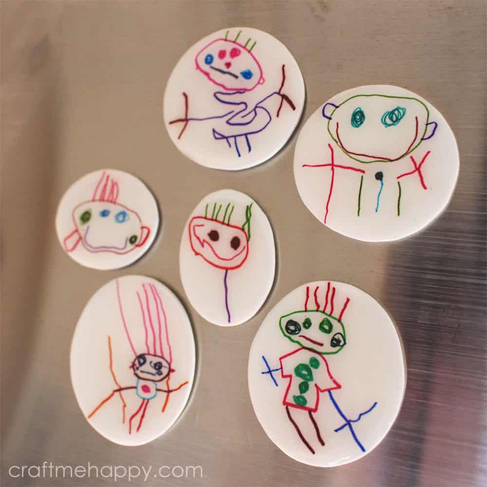 DIY Fridge Magnets our of a Child's Artwork