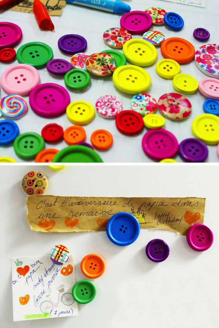 DIY Button Fridge Magnets