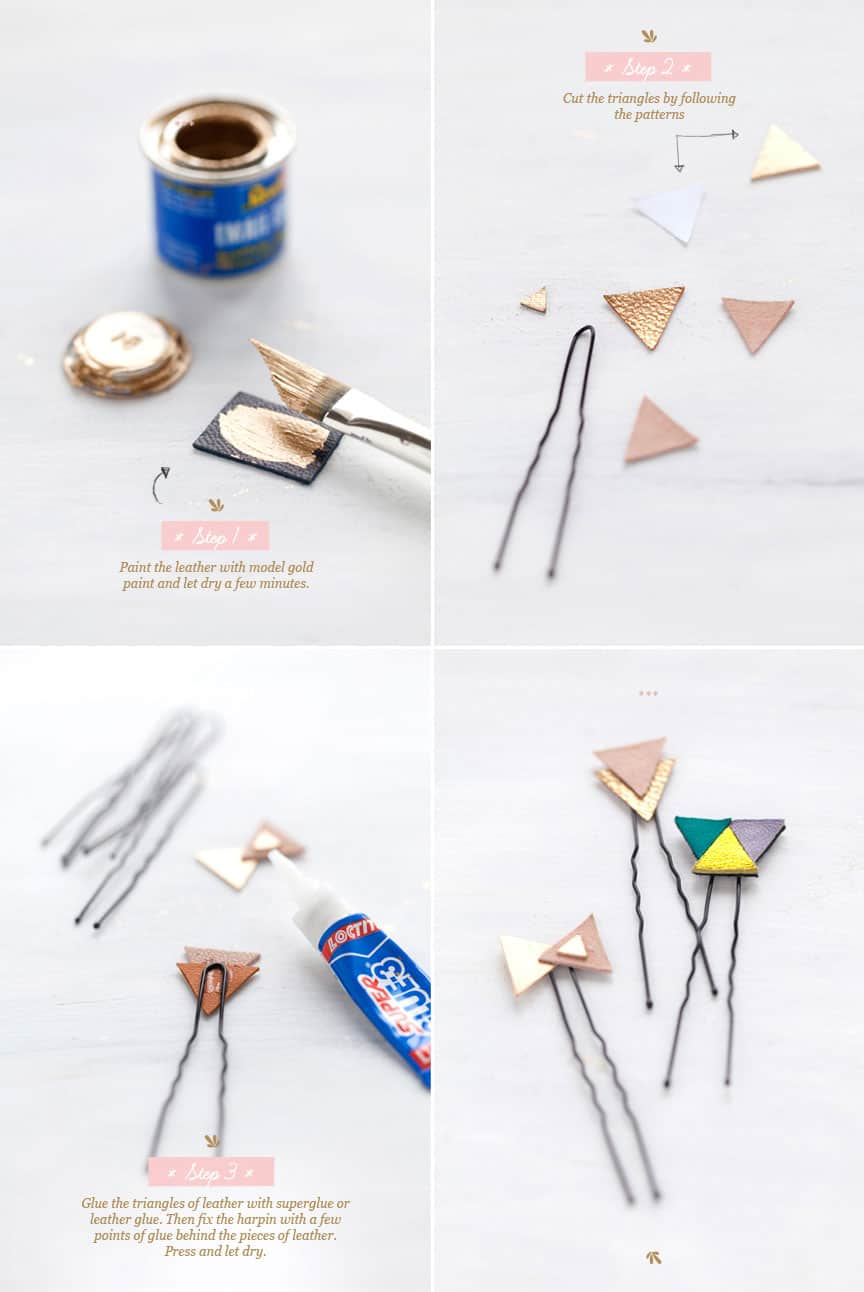 Gold, Leather Hair Clips
