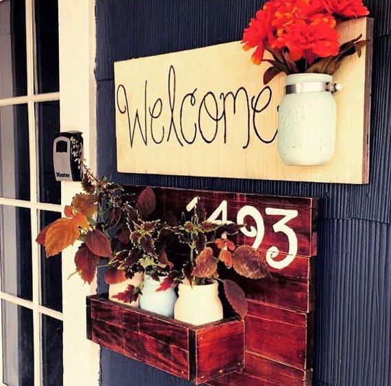 House Number Sign with Mason Jars